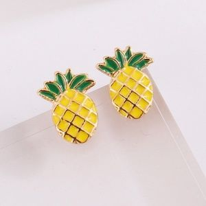 5 for $25 Yellow and Green Pineapple Stud Earrings